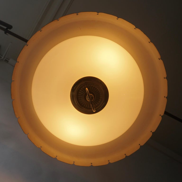 Midcentury Adjustable Counterweight Brass and Glass Pendant Lamp,1960s 1970s For Sale 2