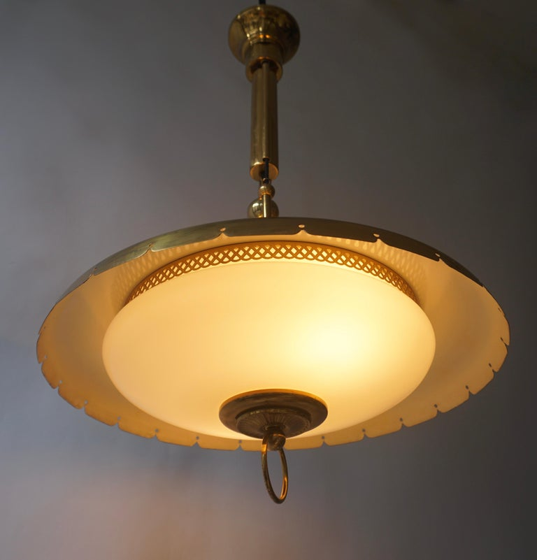 Mid-Century Modern Midcentury Adjustable Counterweight Brass and Glass Pendant Lamp,1960s 1970s For Sale