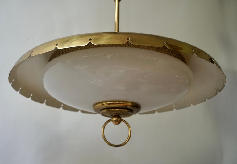 20th Century Midcentury Adjustable Counterweight Brass and Glass Pendant Lamp,1960s 1970s For Sale