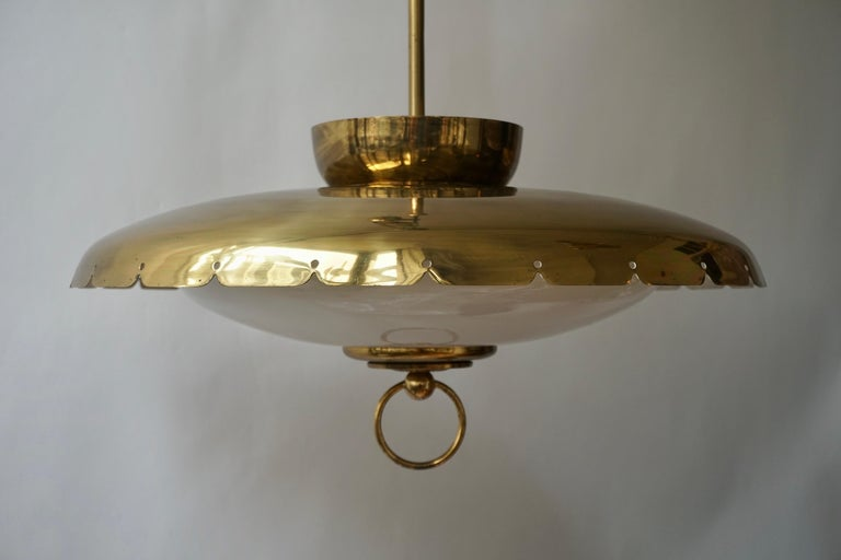 Rope Midcentury Adjustable Counterweight Brass and Glass Pendant Lamp,1960s 1970s For Sale