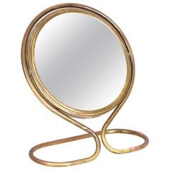 Midcentury Adjustable Double-Sided Brass Vanity Italian Table Mirror, 1960s