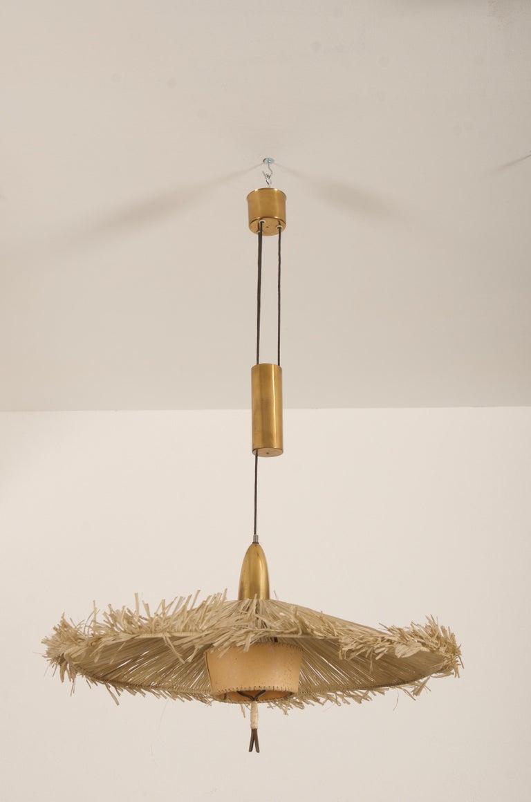 Midcentury Adjustable Pendant Attributed to J.T Kalmar For Sale 3