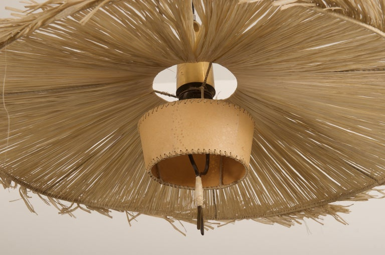 Shade made of straw braid and fitted with one E27 socket, attributed to J.T. Kalmar.