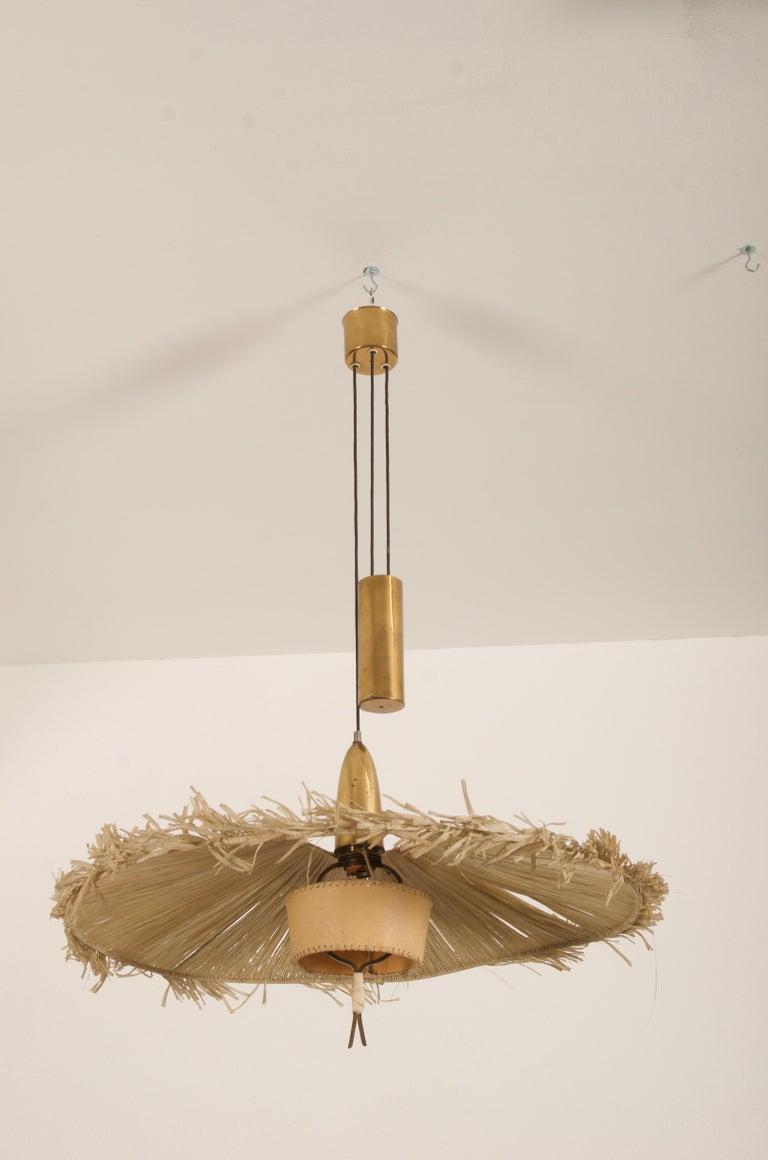 Mid-Century Modern Midcentury Adjustable Pendant Attributed to J.T Kalmar For Sale