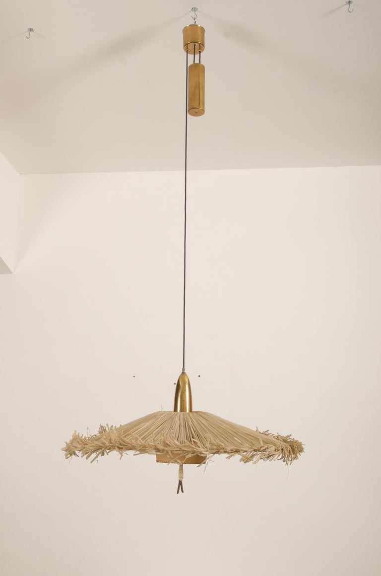 Midcentury Adjustable Pendant Attributed to J.T Kalmar In Good Condition For Sale In Vienna, AT