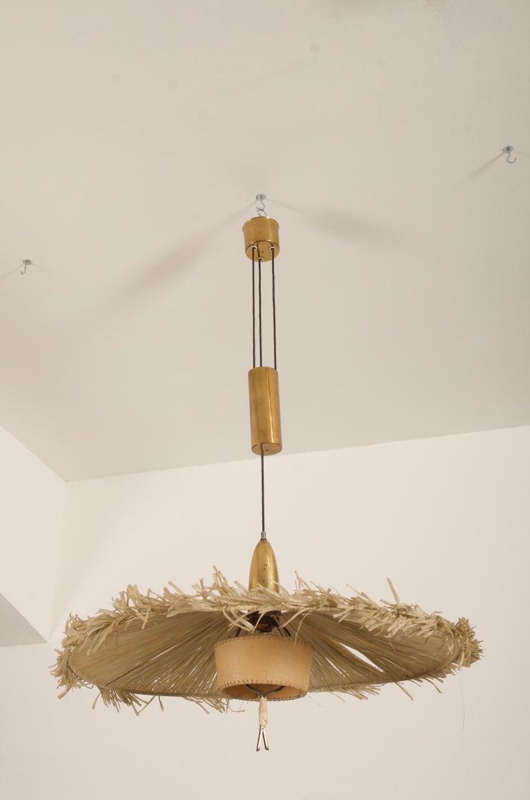 Brass Midcentury Adjustable Pendant Attributed to J.T Kalmar For Sale