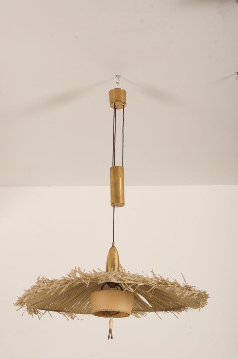 Midcentury Adjustable Pendant Attributed to J.T Kalmar For Sale 2