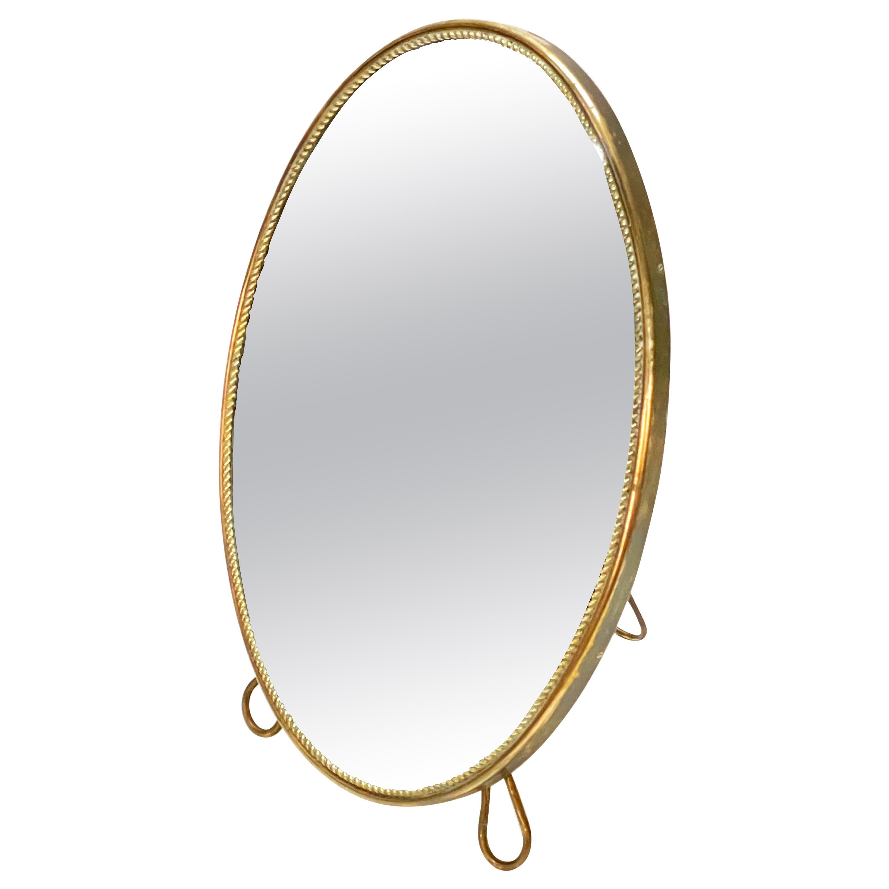 Midcentury Adjustable Vanity Italian Oval Table Mirror with Brass Frame, 1950s