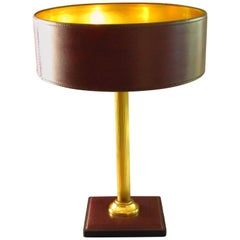 Midcentury Adnet Desk Table Lamp Leather and Brass