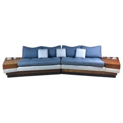 Midcentury Adrian Pearsall Craft Associates Sectional Sofa with Built-In Tables