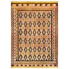 Midcentury Afghan Kilim Wool Rug in Black, Beige, Yellow and Rose