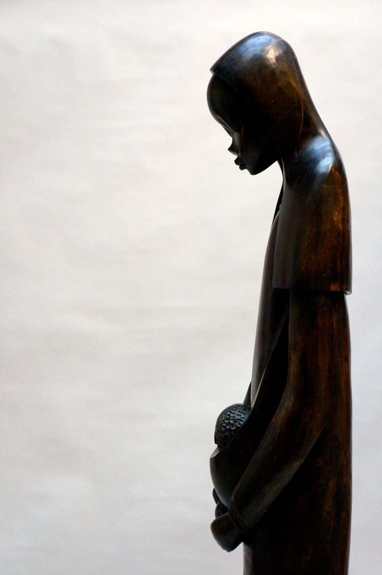 Hollywood Regency Midcentury African Hand Carved Wood Sculpture of Maria with Child For Sale