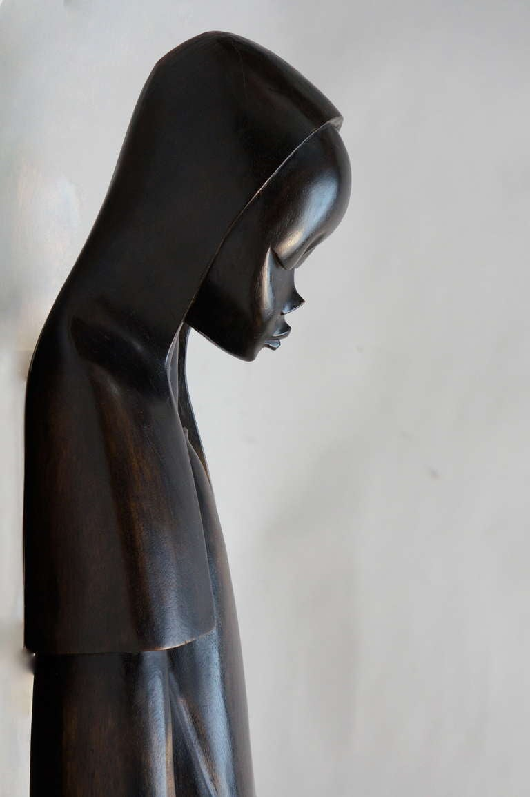 20th Century Midcentury African Hand Carved Wood Sculpture of Maria with Child For Sale