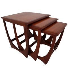 """Midcentury Afromosia Nesting Tables """"Model Astro"""" from G-Plan, 1960s"""