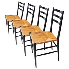 Midcentury after Gio Ponti Black Lacquered Natural Fiber Chairs, Italy, 1950