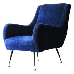Midcentury after Marco Zanuso Klein Blue Upholstery Italian, Armchair, 1950