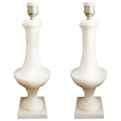 Pair of Whiter Alabaster Table Lamp, Italy, 1950s
