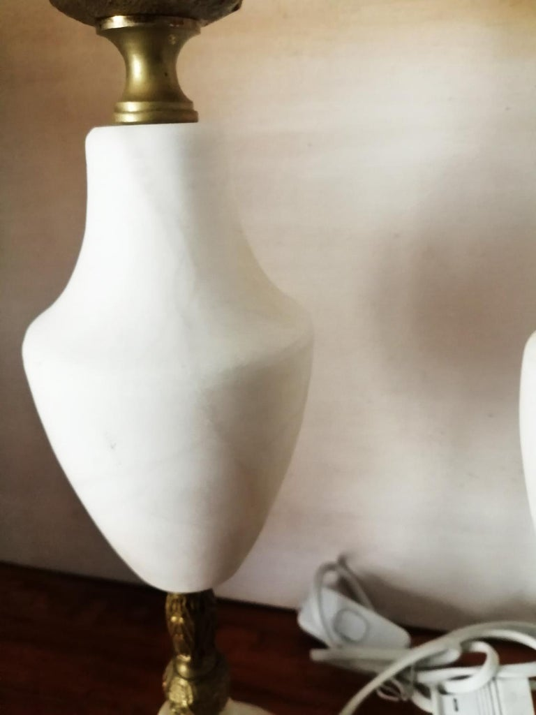 Pair of Large Table Lamps Art Deco Marble or  Alabaster ,Italy For Sale 9
