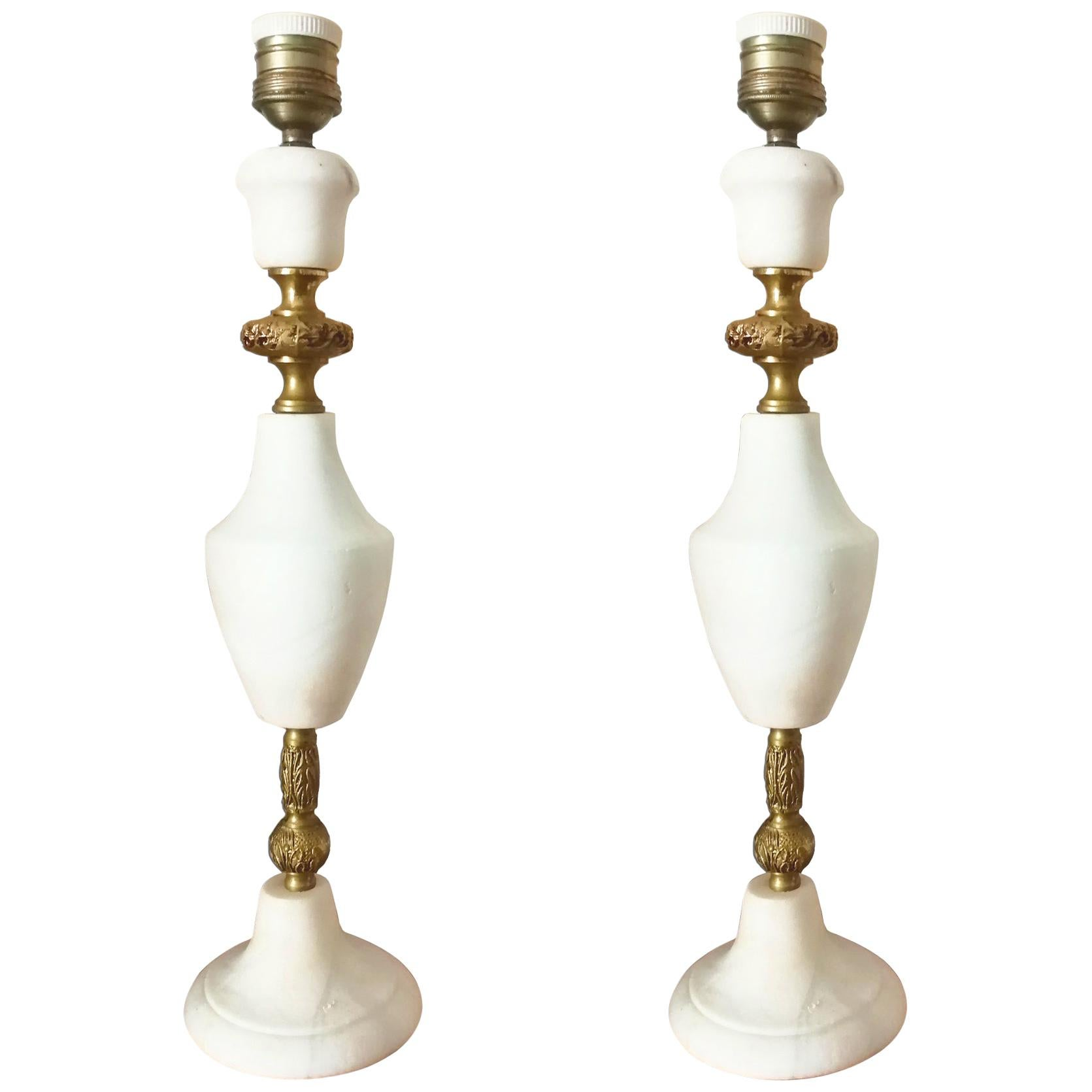 Pair of Large Table Lamps Art Deco Marble or  Alabaster ,Italy