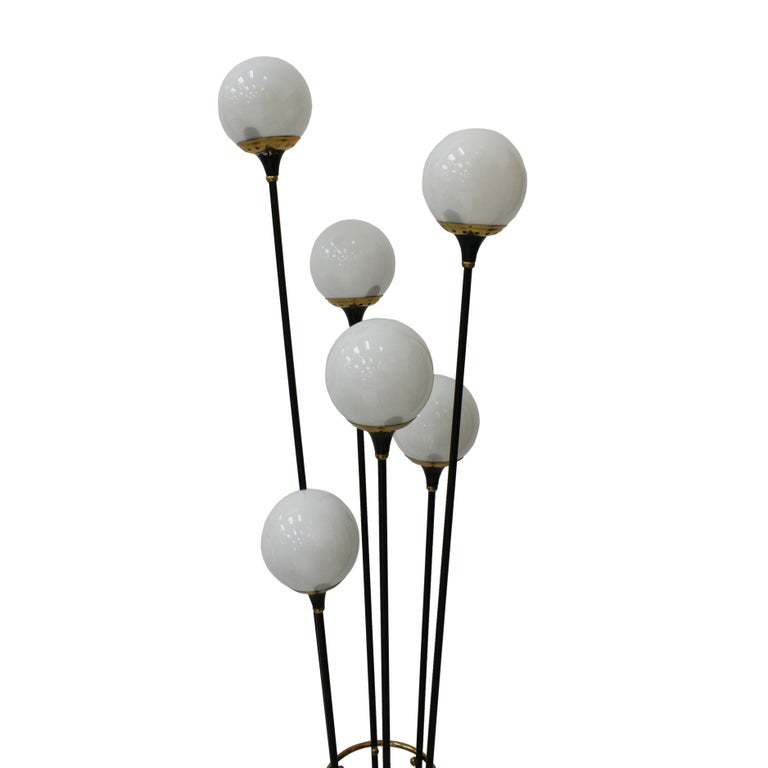 Alberello floor lamp by Stilnovo composed of six points of light with structure made of black lacquered brass and triangular base in Carrara marble, Italy, 1950s.   Italian lighting manufacturer Stilnovo was founded by designer Bruno Gatta in