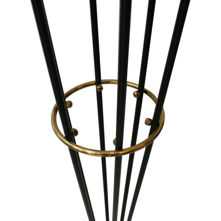 Mid-Century Modern Midcentury Alberello by Stilnovo Lacquered Brass and Marble Italian Floor Lamp For Sale
