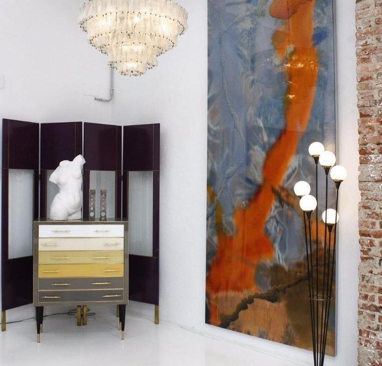 Mid-20th Century Midcentury Alberello by Stilnovo Lacquered Brass and Marble Italian Floor Lamp For Sale