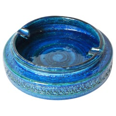 "Midcentury Aldo Londi Blue Glazed ""Rimini"" Ceramic Ashtray, Bitossi Italy, 1960s"