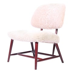 "Midcentury Alf Svensson ""TeVe"" Easy Chair in Sheepskin, 1950s"