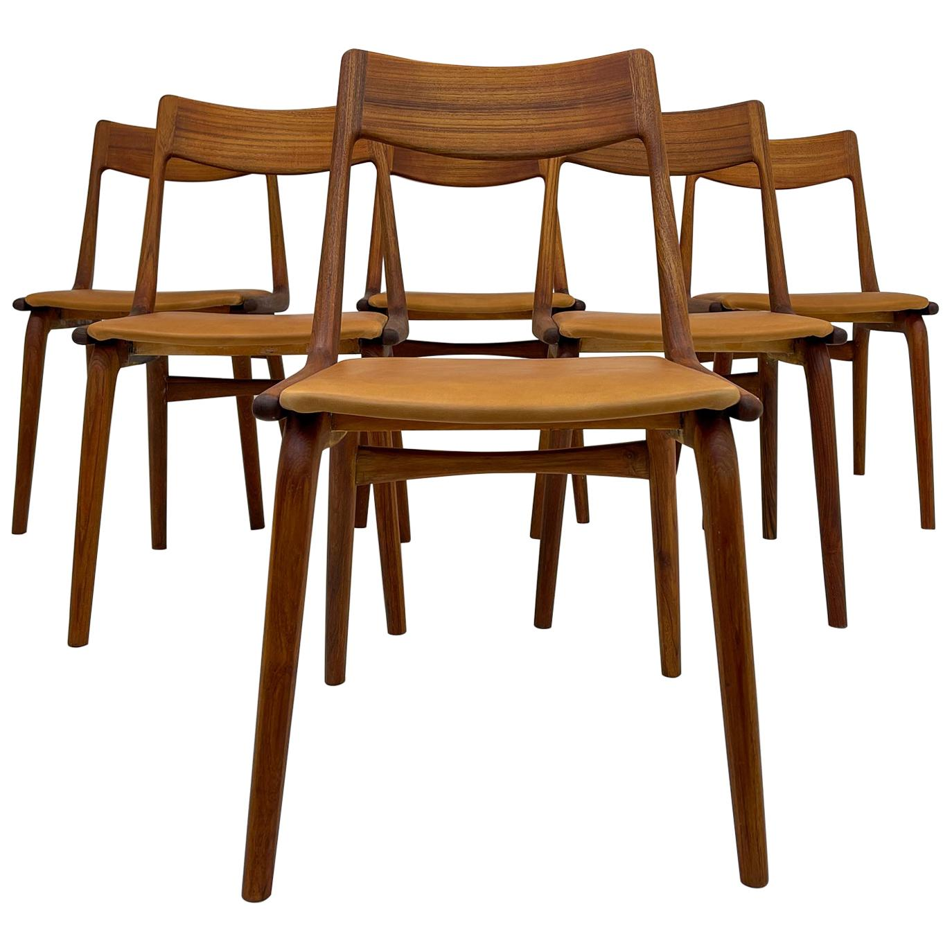 Midcentury Alfred Christiansen Teak and Leather 'Boomerang' Chairs