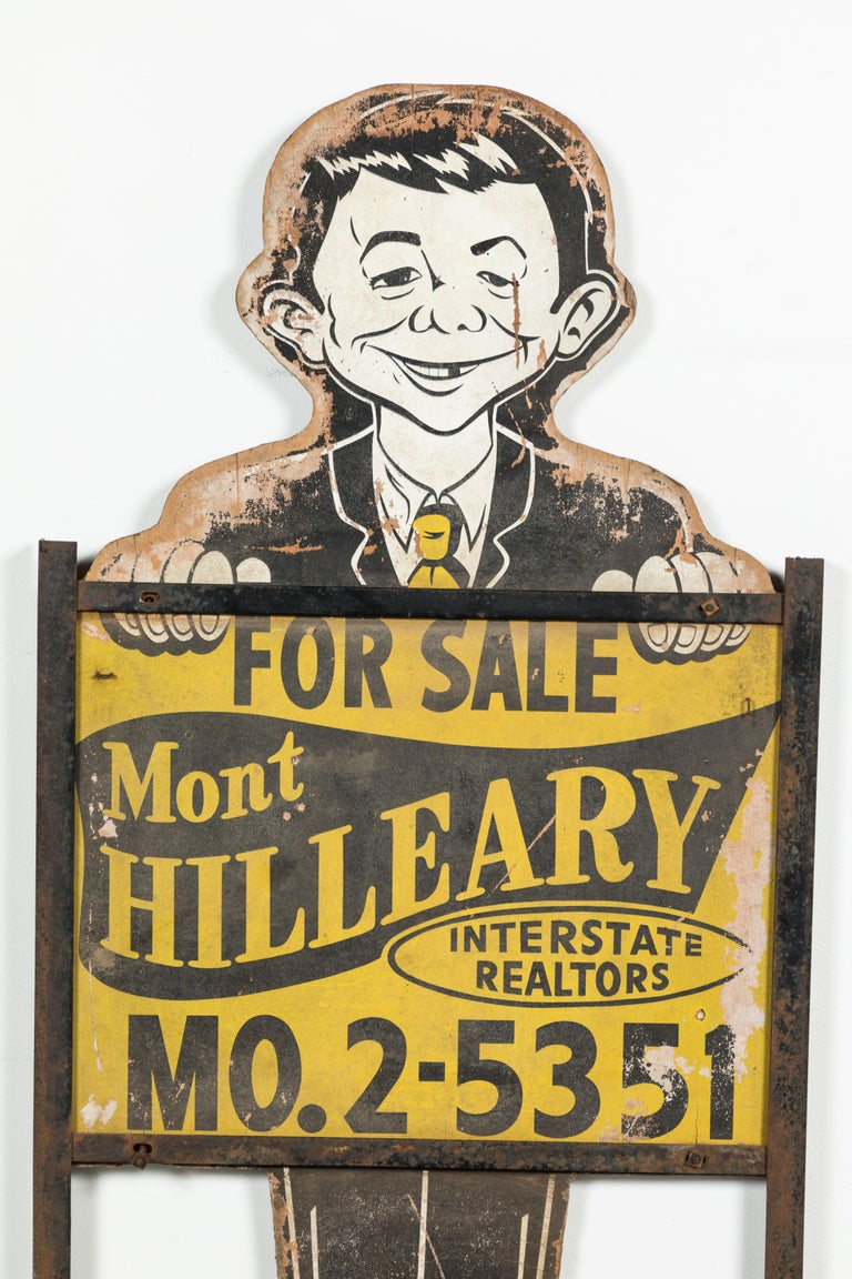 Neuman midwestern United States real estate marketing sign, circa 1950s, Alfred E.. Great midcentury Folk Art Americana. Great graphic and wall hanging.