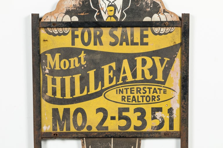 Hand-Painted Midcentury Alfred E Neuman Real Estate Yard Sign American Folk Art For Sale