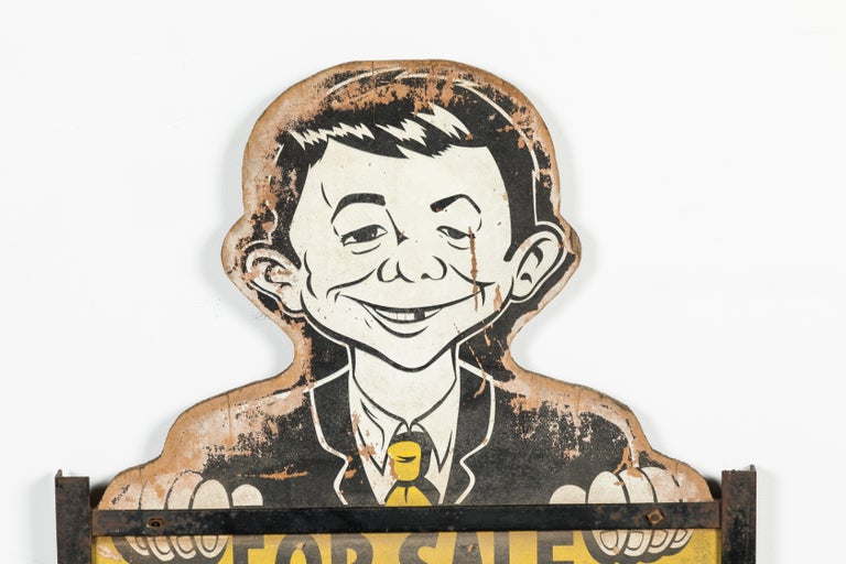 Mid-20th Century Midcentury Alfred E Neuman Real Estate Yard Sign American Folk Art For Sale