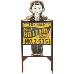 Midcentury Alfred E Neuman Real Estate Yard Sign American Folk Art