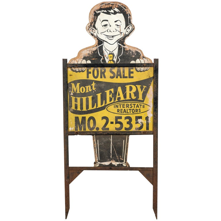 Midcentury Alfred E Neuman Real Estate Yard Sign American Folk Art For Sale