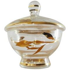 Midcentury All Glass Sugar Bowl by Bohemia Crystal Czechoslovakia, 1950s