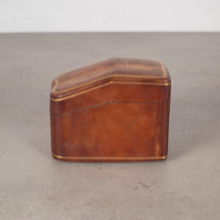 Mid-Century Modern Midcentury All Leather Calfskin Playing Card Holder Made in Italy, circa 1960s