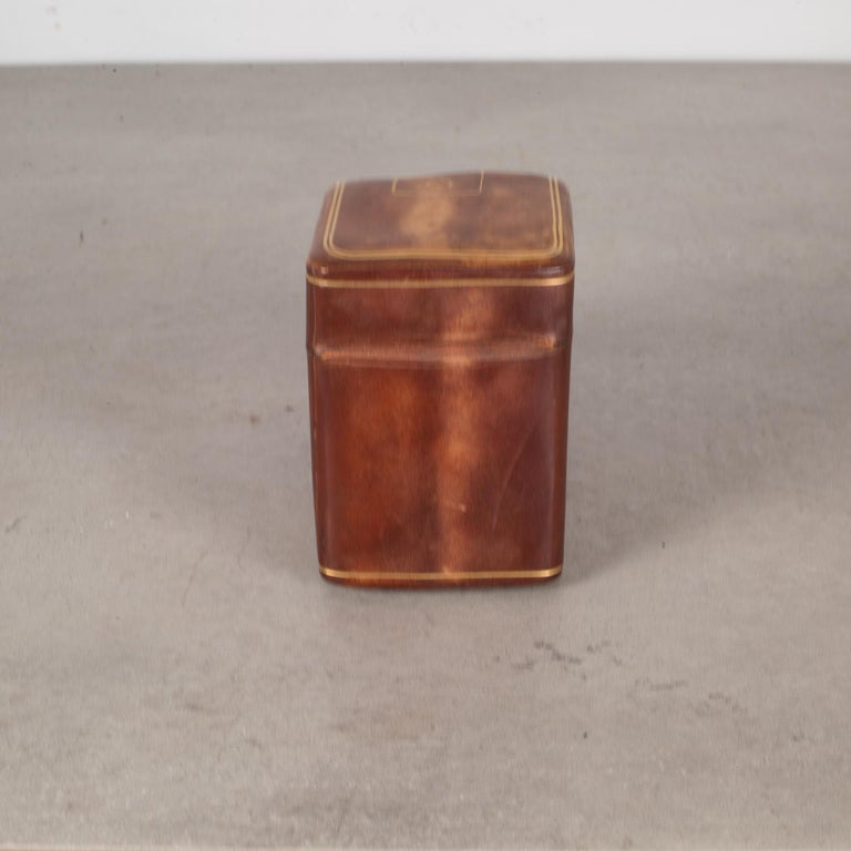 Italian Midcentury All Leather Calfskin Playing Card Holder Made in Italy, circa 1960s