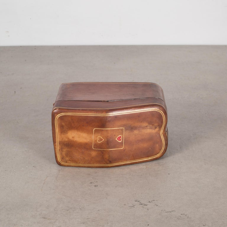 20th Century Midcentury All Leather Calfskin Playing Card Holder Made in Italy, circa 1960s
