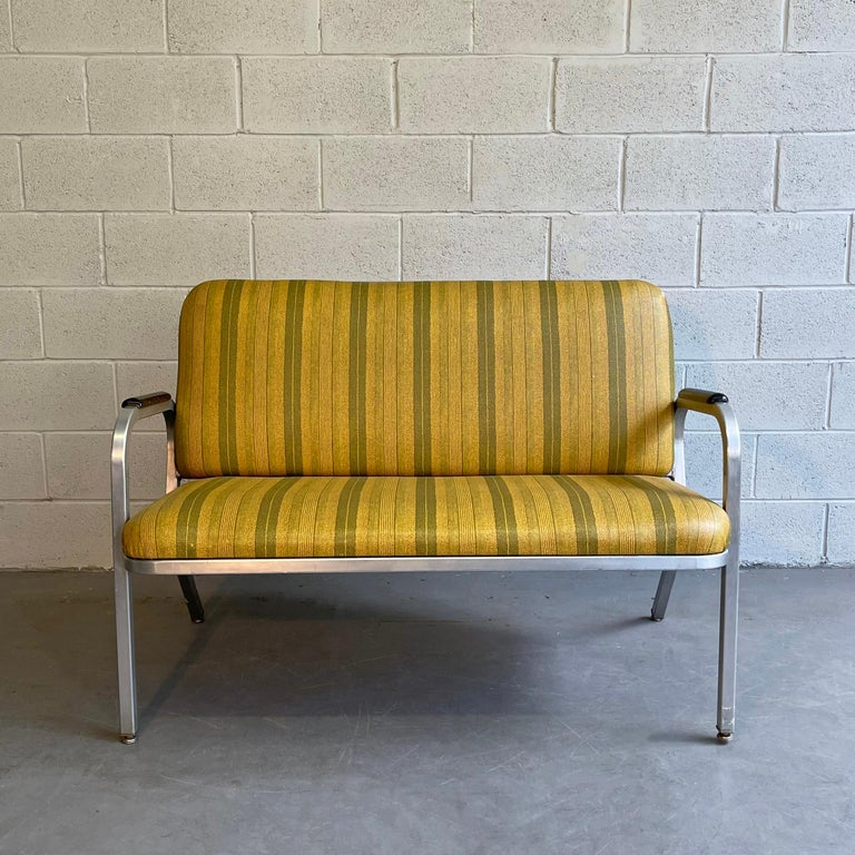 Mid-Century Modern Midcentury Aluminum Frame Loveseat Sofa by GoodForm For Sale