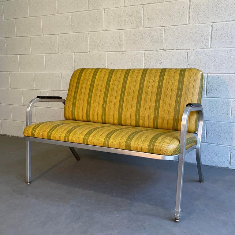 American Midcentury Aluminum Frame Loveseat Sofa by GoodForm For Sale