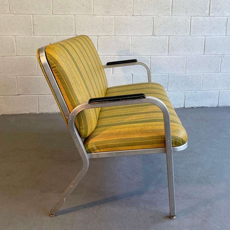 Painted Midcentury Aluminum Frame Loveseat Sofa by GoodForm For Sale