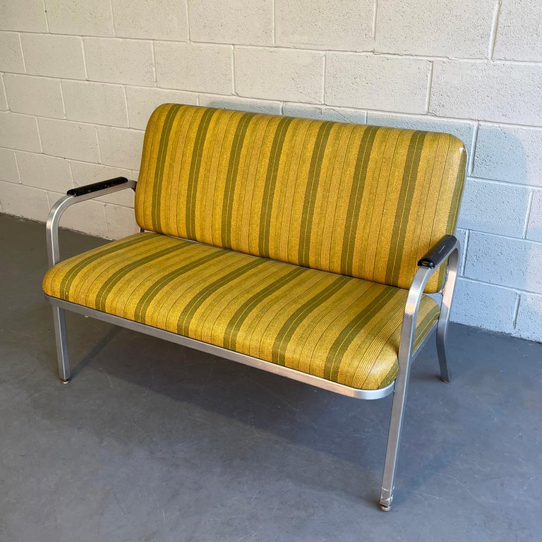 Midcentury Aluminum Frame Loveseat Sofa by GoodForm In Good Condition For Sale In Brooklyn, NY
