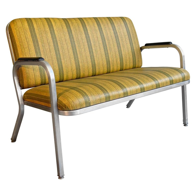 Midcentury Aluminum Frame Loveseat Sofa by GoodForm For Sale