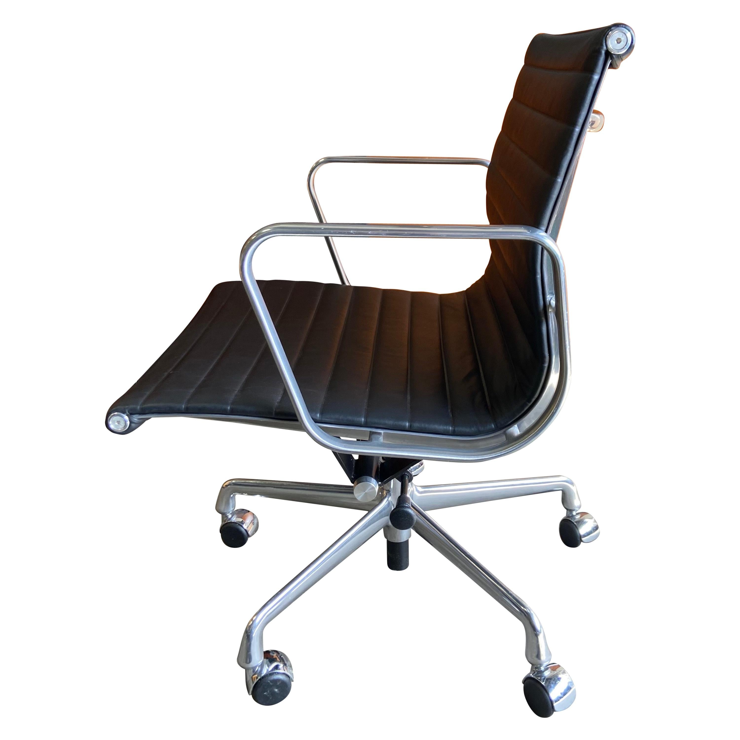 Midcentury Aluminum Group Chairs in Black Leather Near New Old Stock