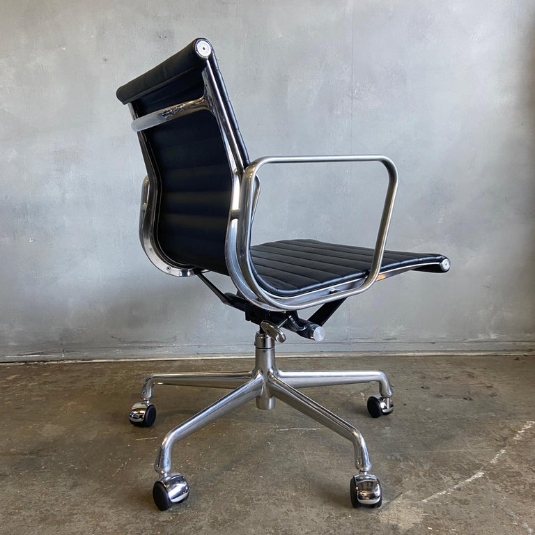 For your consideration we have up to 8 Eames for Herman Miller executive chairs in black leather with low backs. These are from 2012 and never used NOS. Full tilt, height adjustment, and swivel with carpet / hardwood casters.  These authentic