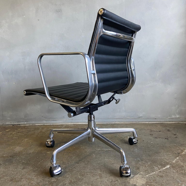 Mid-Century Modern Midcentury Aluminum Group Chairs in Black Leather New Old Stock For Sale