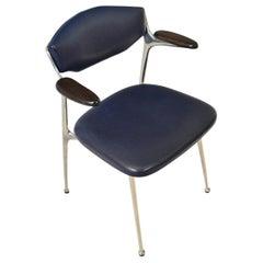 Midcentury Aluminum & Leather Desk Chair