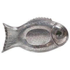 Midcentury Aluminum Stylized Fish Tray with Green Stone Eye by Arthur Court