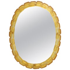 Midcentury Amber Oval Mirror