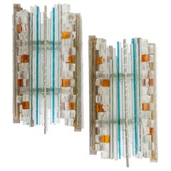Mid-Century Amber, White, Turquois Art Glass Sconces by Albano Poli for Poliarte